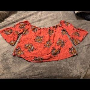 Orange floral off the shoulder top